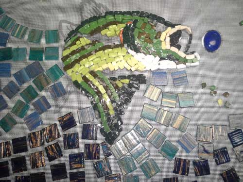 mosaic bass in progress