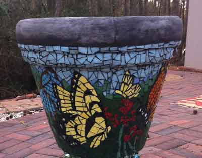 Butterfly mosaic planter