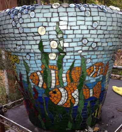 Fish mosaic planter