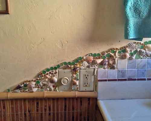 mosaic backsplash sink detail