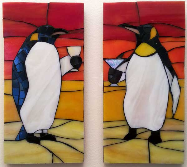 """Penguins"" Stained Glass Mosaics"