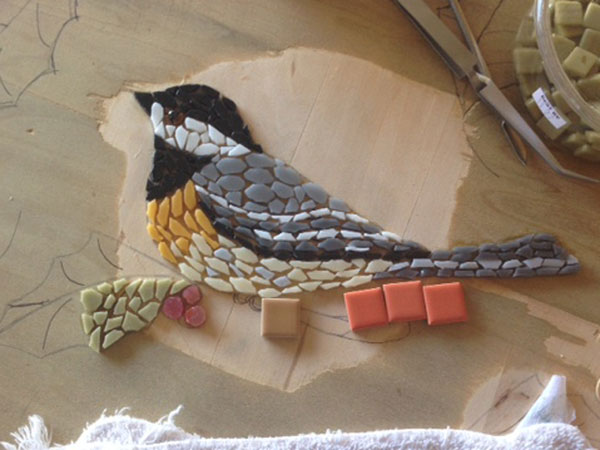Chickadee Mosaic Table Top
