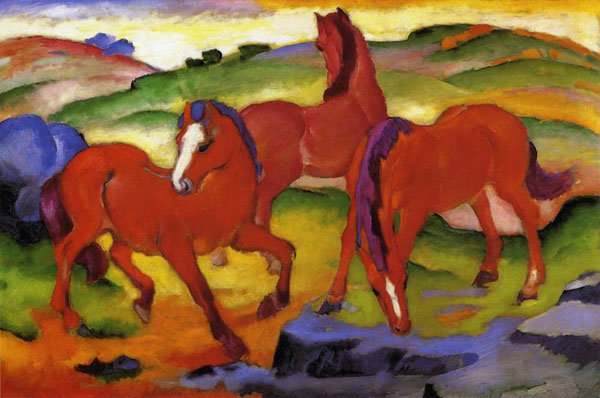 Large Red Horses painting Franz Marc