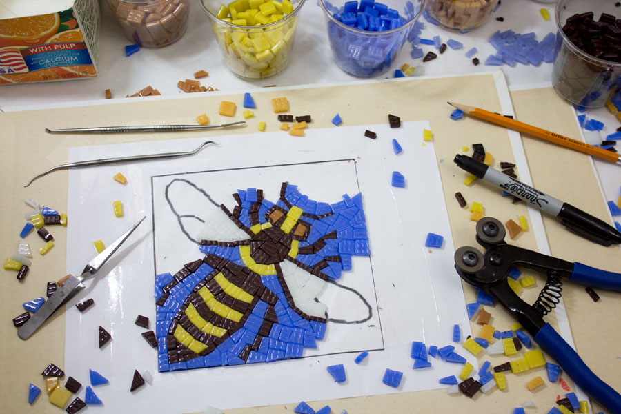 Mosaic bee in progress