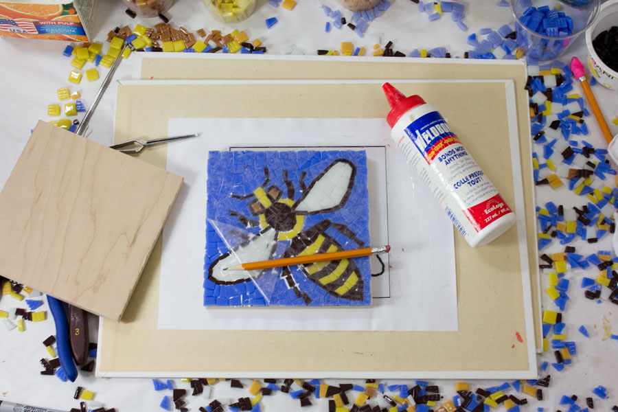 Contact paper removed from the bee mosaic.