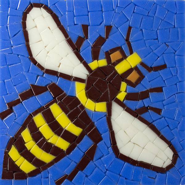 Roman Bee Mosaic ready to be grouted