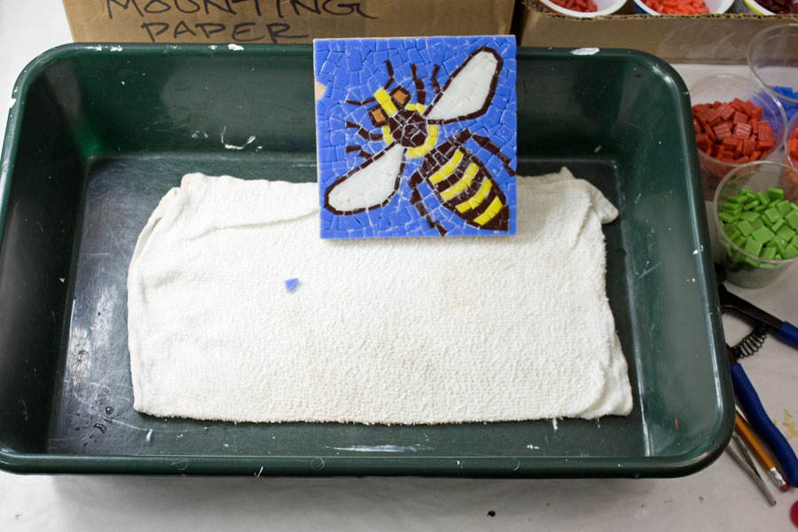 Removing glue residue from bee mosaic