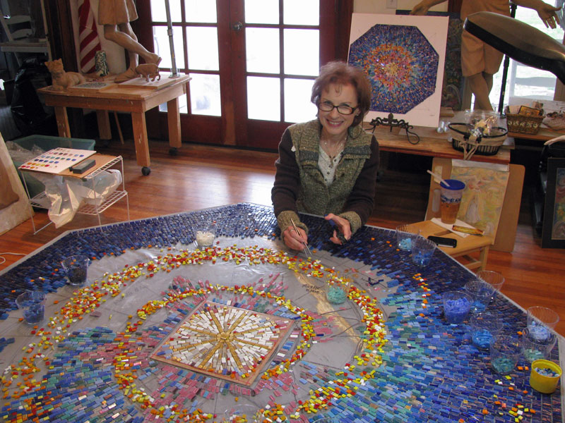 Artist Sondra Johnson mosaic in progress
