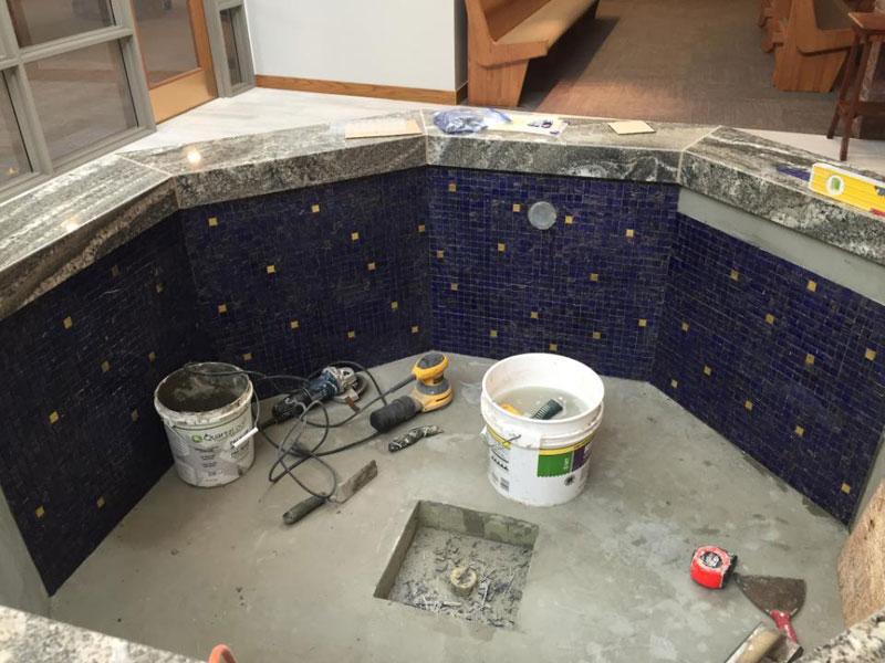 Mosaic Baptismal Font wall detail