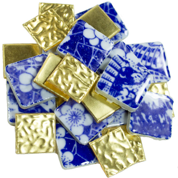 Gold Leaf Mosaic Glass with Blue Porcelain Tile