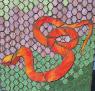 Serpent Mosaic Art by Valri Castleman