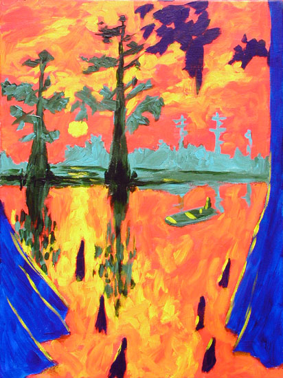 Cypress Bayou Painting by Joe Moorman