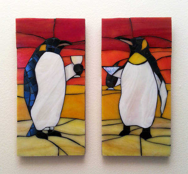 Drinking Penguins Mosaic Art