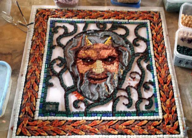 Pan's Head mosaic in progress