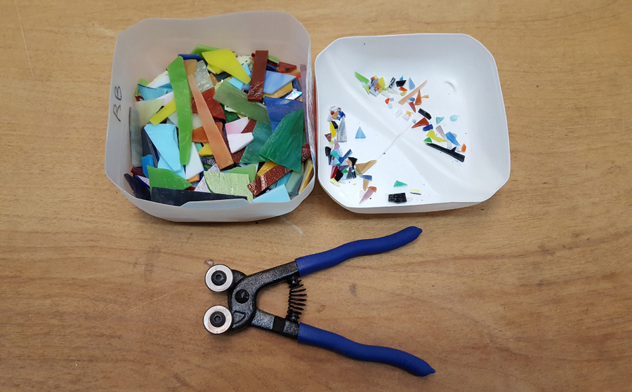 quickly trim sharp edges with mosaic glass cutter.