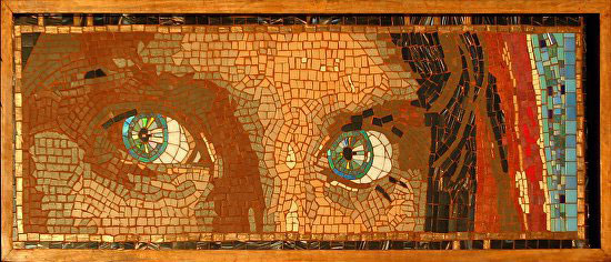 The Afghan Girl's Eyes Mosaic by artist Frederic Lecut.