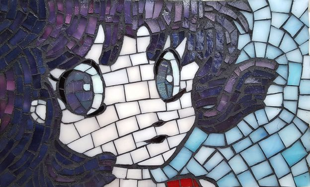 Anime Girl Mosaic Art by Natalija Moss