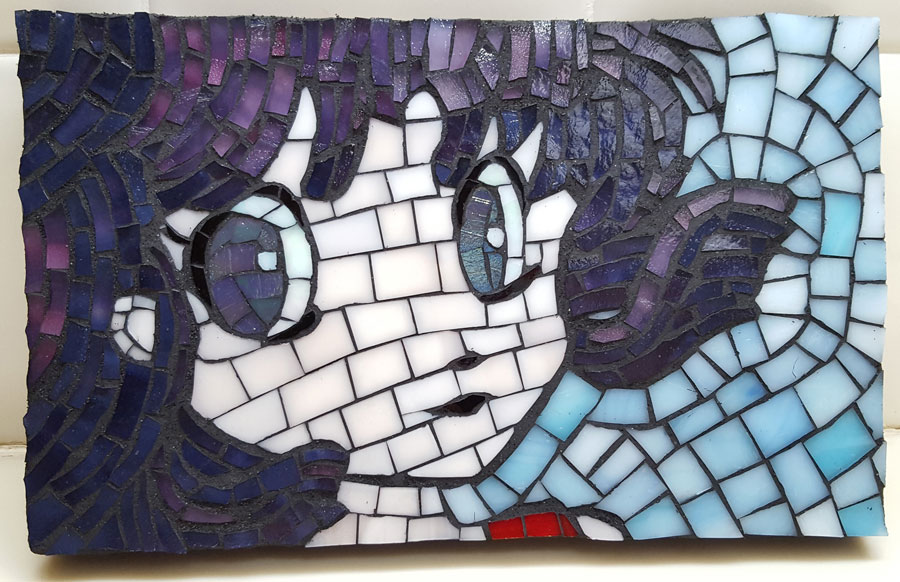 Anime Girl Mosaic Art Showing Rough Edges