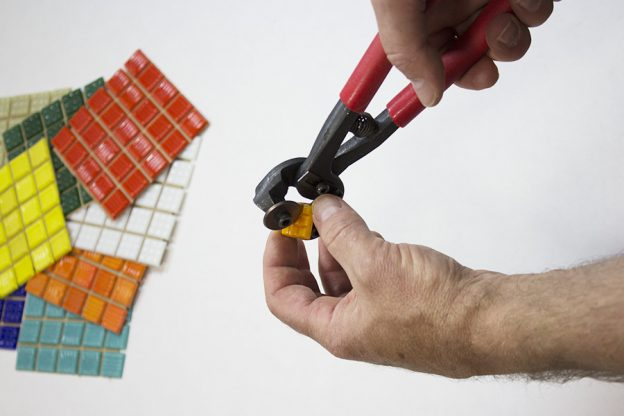 Cutting Vitreous Gl Mosaic Tile Diagonally To Make Triangles