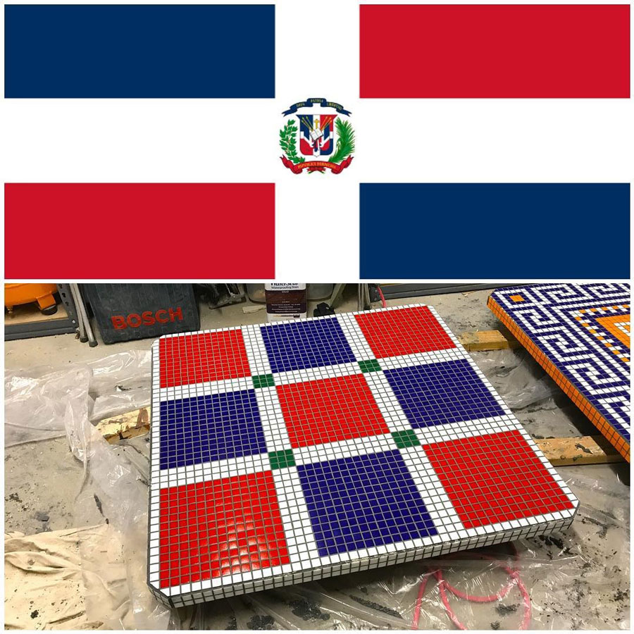 Dominican Flag Abstract Mosaic Pattern