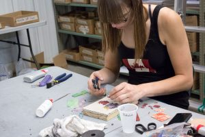 Natalija Moss's temporary stained glass mosaic studio