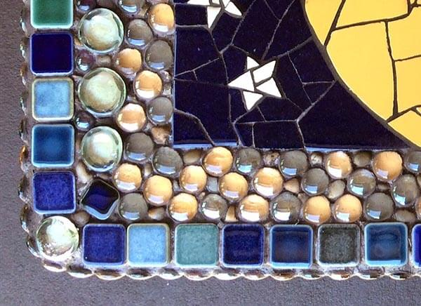 Corner detail of grouted mosaic.