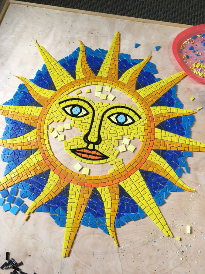 Sun Compass Mosaic in progress.