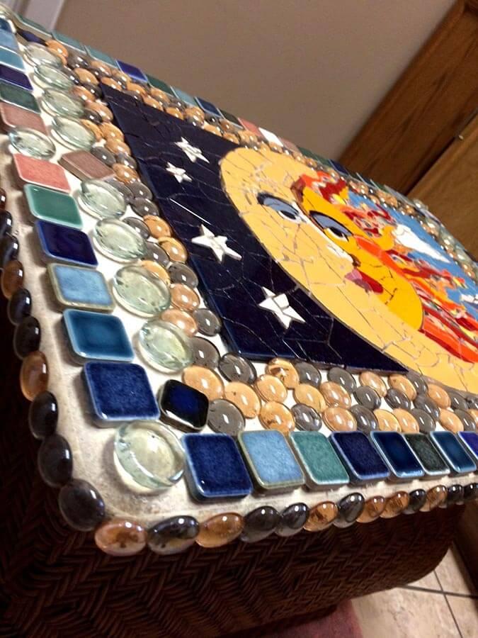 Sun Moon Mosaic by artist Lynn Sposito, corner detail.