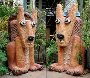 Dog Mosaic Lawn Sculpture by artist Marilyn Keating