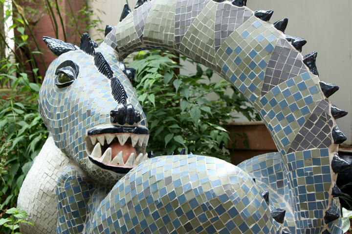Dragon Mosaic Lawn Sculpture by artist Marilyn Keating