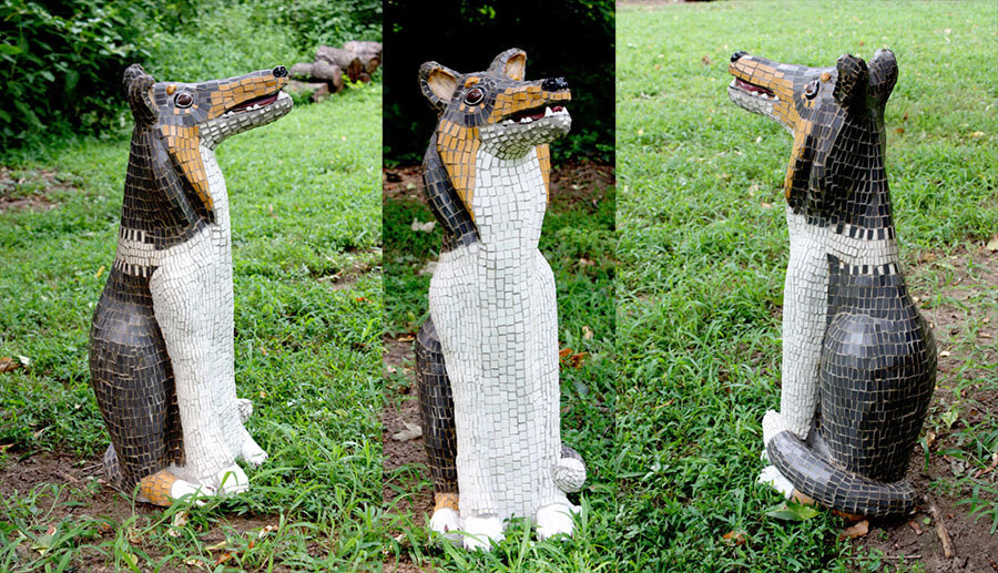 Ripley Mosaic Lawn Sculpture by artist Marilyn Keating