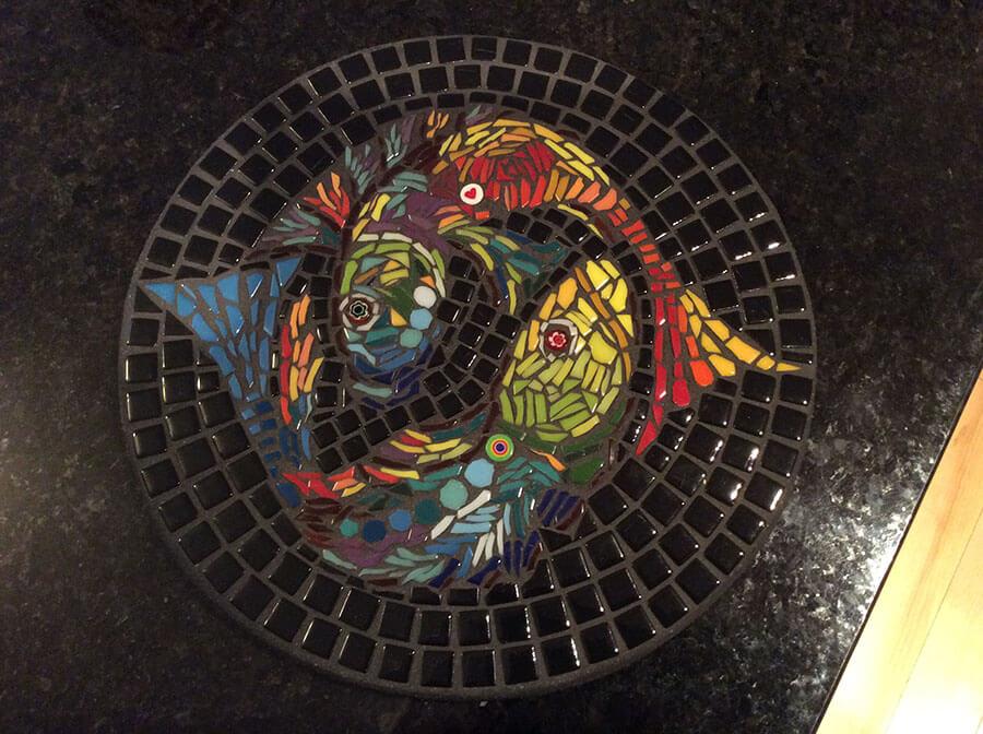 Mosaic Yin Yang Koi by Carol Jasin