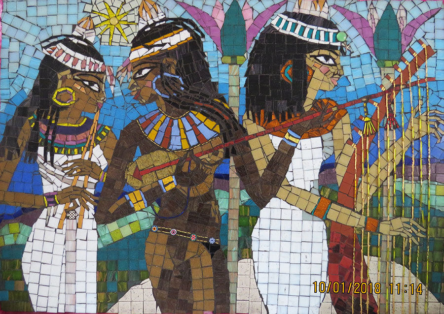 Egyptian Musicians Contemporary Mosaic
