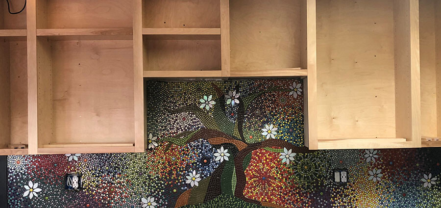 Kitchen Backsplash Mosaic before grouting.