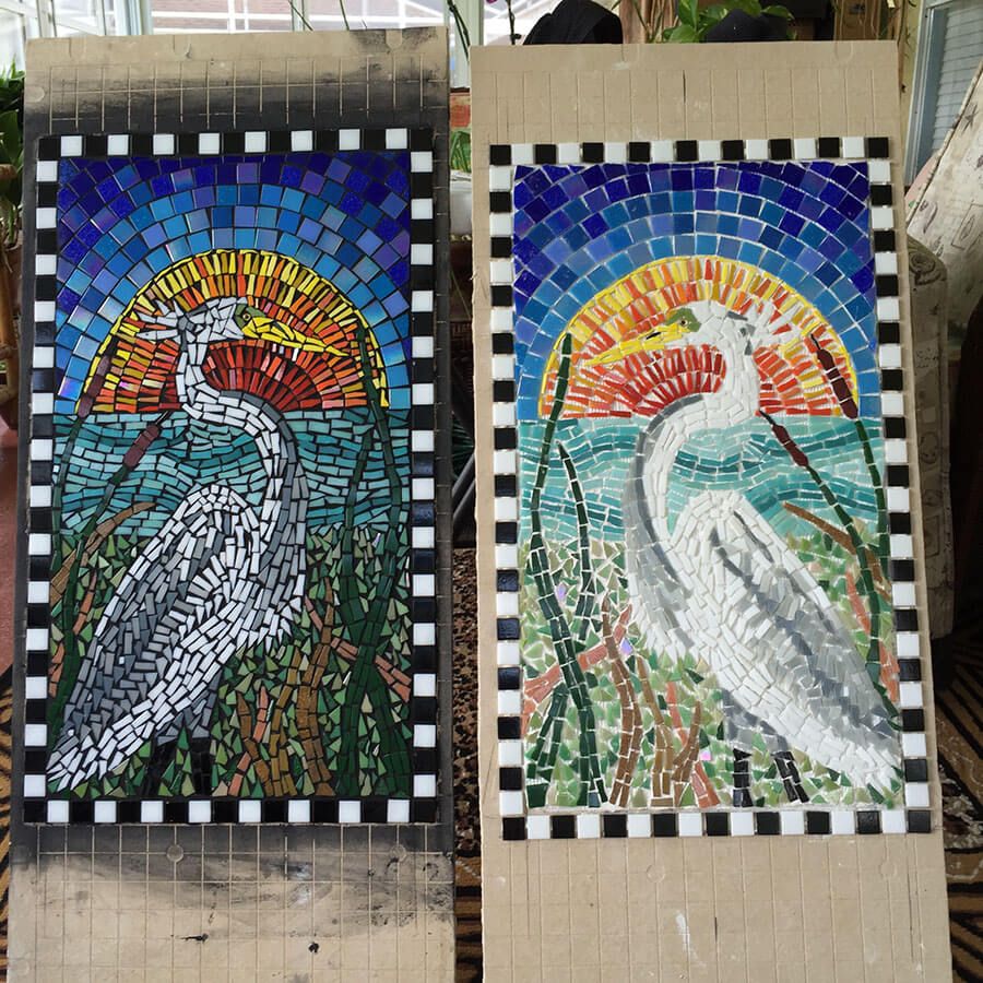 Mosaic Egret Before and After Grouting