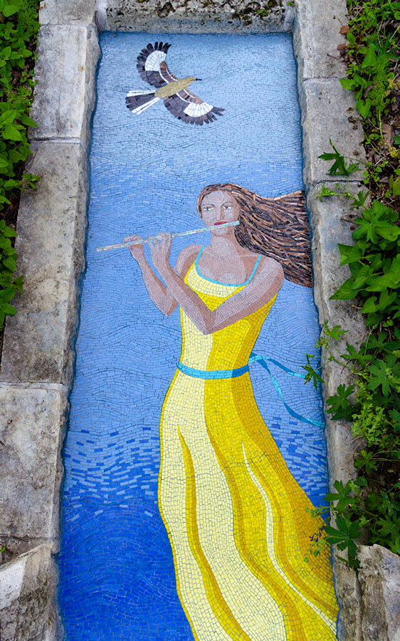 Mosaic Muse with Flute and Bird