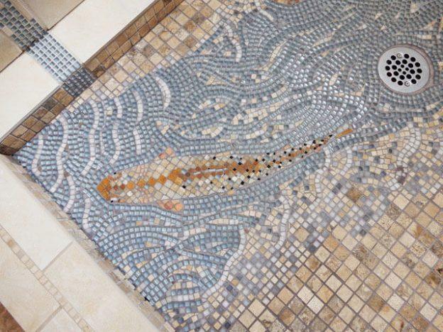 Detail Fish Shower Mosaic by artist Jen Vollmer