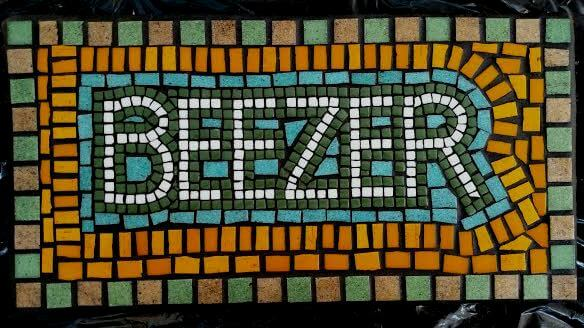 Beezer Pet Name Plaque Memorial Mosaic by Jill Gatwood.