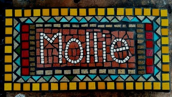 Mollie Pet Name Plaque Memorial Mosaic by Jill Gatwood.