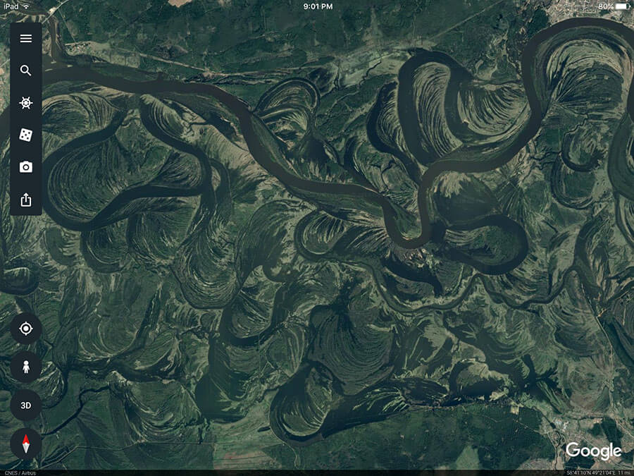 Google Earth River Meanders Siberia