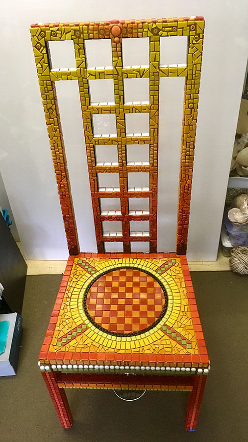 Mosaic Chair by Janie Wright, pre grout.