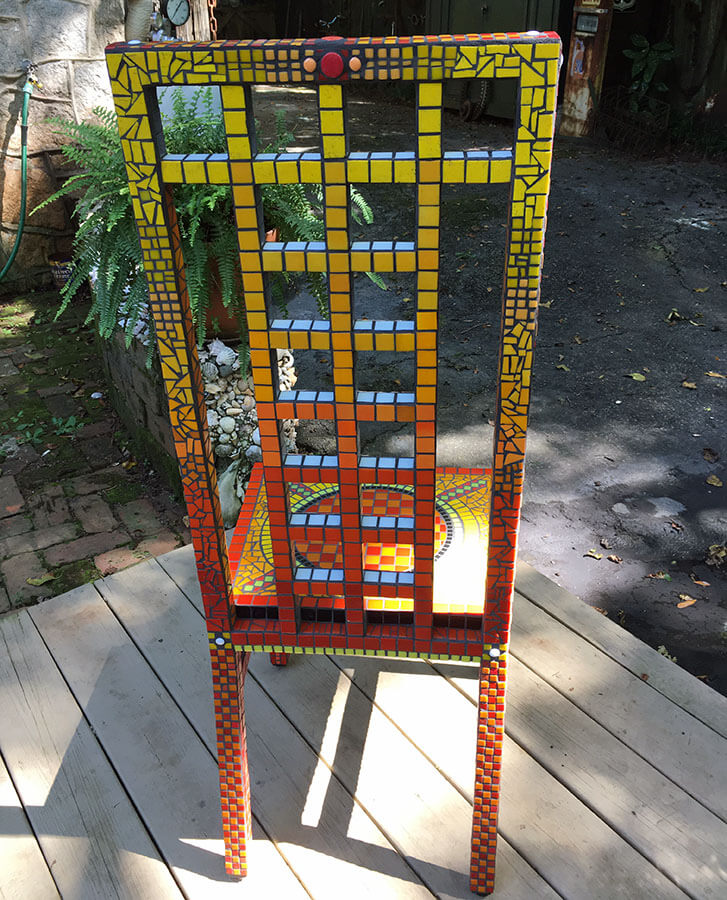 Mosaic Chair by Janie Wright, rear view.