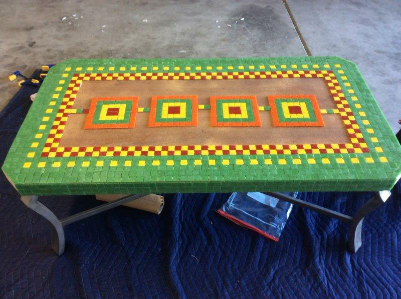 Mosaic Coffee Table in progress.