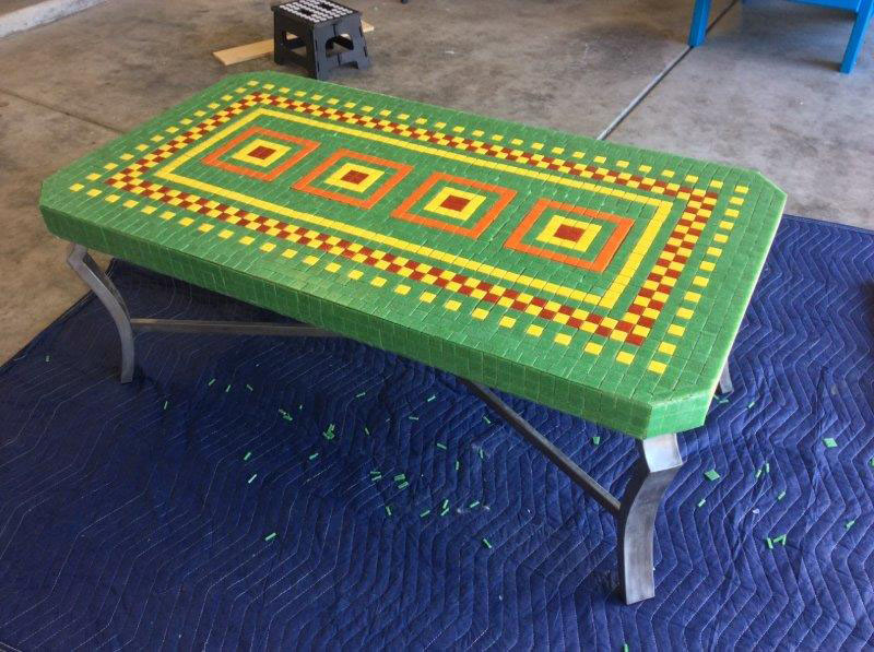 Mosaic Coffee Table pre-grout.