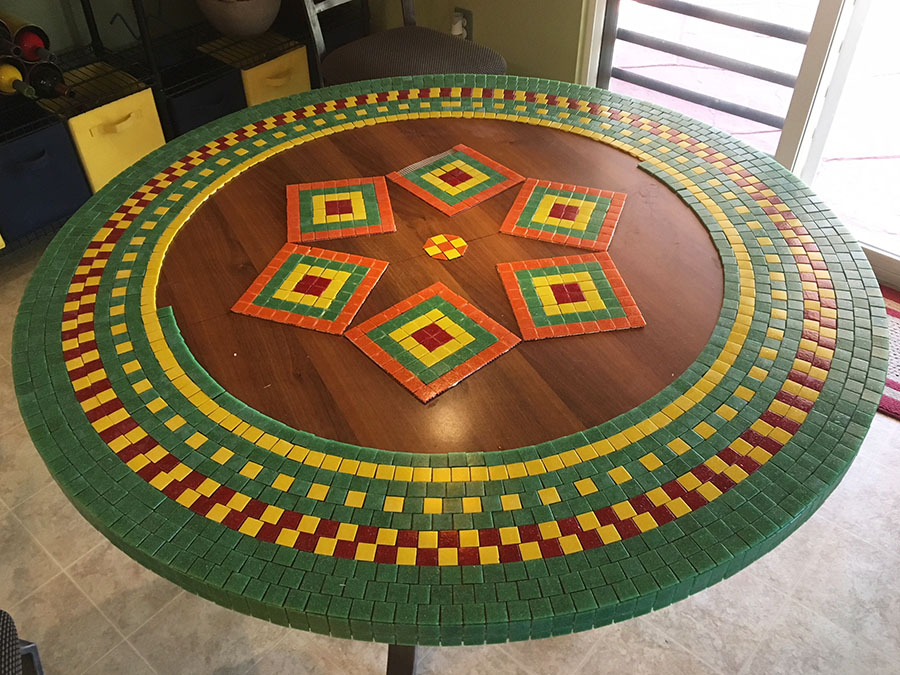 Mosaic Dining-Room Table center design.