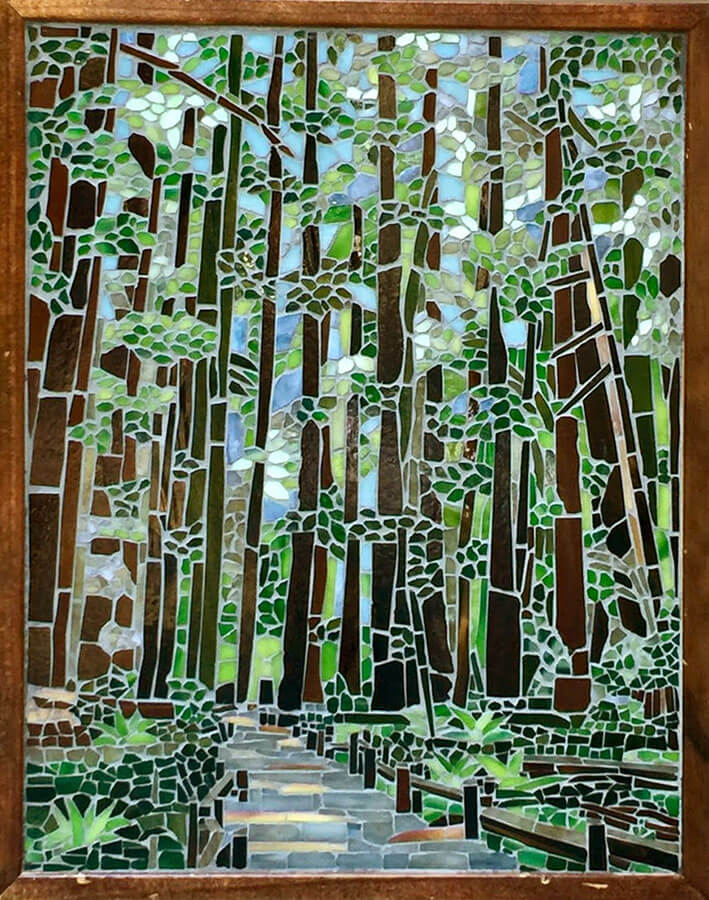 Mosaic Redwoods by Tracy Kaplan Grouted.