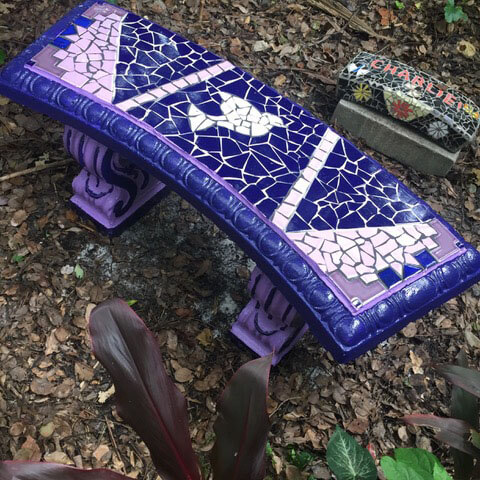 Mosaic Dove Bench by artist Bernie Taylor