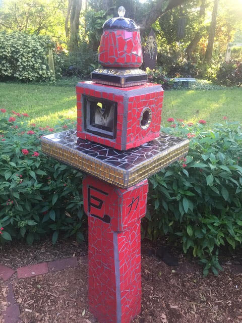 Red Mosaic Sculpture