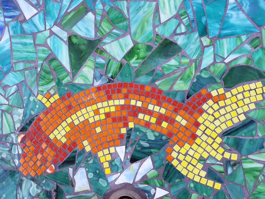 Koi Detail Mosaic Stained Glass Table by Melanie Squires.