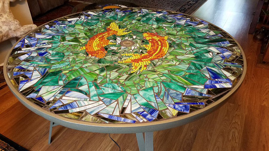 Koi Mosaic Stained Glass Table by Melanie Squires.